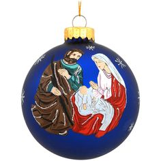 Holy Family 4 Inch Blue Glass Ornament $10.99