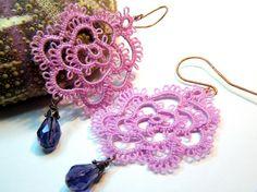 Filigree Lace Tatted Rose Earrings Vintage Feel - Lilac/mauve