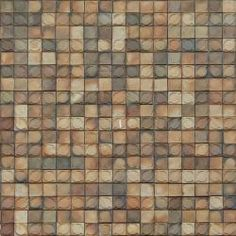 Even, seamless texture of square tiles in various colors with circular shapes on surfaces.