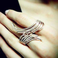 """""""Empty Ocean"""" 18K Rose Gold Diamond Two Finger Ring"""