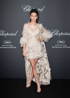 It's the most glamorous red carpet of the year: Cannes Film Festival. Kendall Jenner arrives in a feathered Erdem look. See all the best red carpet looks from Cannes 2016 here: