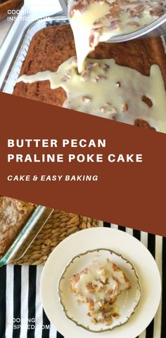 This butter pecan praline poke cake was a surprise creation while visiting my parents recently. There are several things I always look forward to when going out-of-town to visit my parents. Healthy Cake Recipes, Poke Cake Recipes, Poke Cakes, Sweet Recipes, Cupcake Cakes, Dump Cakes, Köstliche Desserts, Delicious Desserts, Dessert Recipes