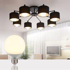 Lights & Lighting Ceiling Lights & Fans 2016 Nordic Minimalism Novelty Patterned Glass Led Chandelier Light Bedroom Living Room 85-265v Modern Simple E27 Chandelier Beautiful And Charming