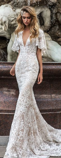 Crystal Design 2018 half handkerchief sleeves v neck full embellishment elegant fit and flare wedding dress covered lace back medium train (indira) mv lv -- Crystal Design 2018 Wedding Dresses #weddingdress #weddinggown #bridal #crystaldesign #lace #wedding #bohowedding