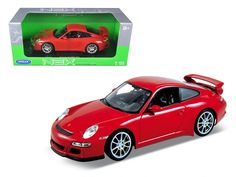Porsche 911 (997 ) GT3 Red 1/18 Diecast Car Model by Welly - Brand new 1:18 scale diecast car model of Porsche 911 (997 ) GT3 Red die cast car model by Welly. Has steerable wheels. Brand new box. Rubber tires. Has opening hood, doors and trunk. Made of diecast with some plastic parts. Detailed interior, exterior, engine compartment. Dimensions approximately L-10, W-4, H-3.5 inches. Please note that manufacturer may change packing box at anytime. Product will stay exactly the same.-Weight: 4…