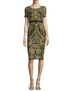Short-Sleeve+Embroidered+Sheath+Dress,+Black+by+Marchesa+at+Neiman+Marcus.