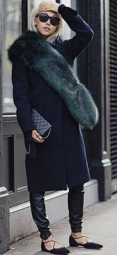 black coat + dark green fur + chanel black handbag + black statement sunglasses INSPIRATION | FUR AND SHEARLING #inspiration