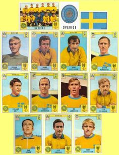Sweden team stickers for the 1970 World Cup Finals.