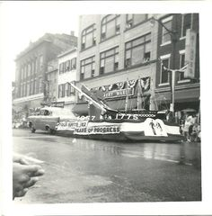 1957 Navy parade float in 800 block of Caroline St. (in front of Montgomery Ward) Fredericksburg Virginia, Montgomery Ward, 1957 Chevrolet, Times Square, Street View, History, Postcards, Travel, Navy