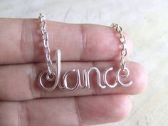 Dance Necklace Silver Word Necklace Personalized Name Necklace Wire Wrap Jewelry Gifts under 20