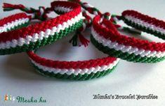 Nemzetiszínű csomózott karkötő (Blanq) - Meska.hu Paracord, Friendship Bracelets, Jewelery, Business, Decor, Art, Creative, Jewlery, Art Background