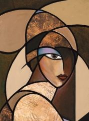 """""""Malaika"""" This is museum quality for sure! Just beautiful! Abstract Face Art, Abstract Canvas, Cubist Art, Picasso Art, Modern Art Paintings, Cubist Paintings, Stained Glass Art, Mosaic Art, African Art"""