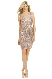 Fifth Avenue Showstopper Dress. Blush pink sequin Badgley Mischka . Rent The Runway rate,$75. Retail, $395. Kick-ass New Year's Eve dress idea.