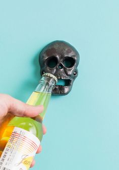 Day of the Dead Bottle Opener: mounted. Pretty cool and the only way you should ever open a bottle with teeth.