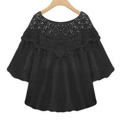 Sweet Scoop Neck 3/4 Sleeve Crochet Lace Fringed Blouse For Women