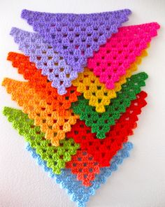 #Crochet bunting can add character to any room. Work some up for a baby shower, a birthday party or simply a home decoration piece. Bright colors is what it's all about.