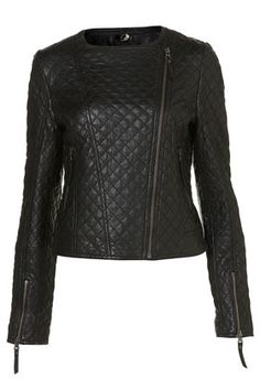 TOPSHOP  Tall Quilted Leather Biker Jacket