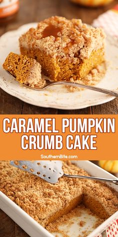 This super easy Caramel Pumpkin Crumb Cake is the perfect dessert recipe for Fall. The dense, rich pumpkin cake is topped with a thick layer of streusel crumble and drizzled with caramel! Fall Desserts, Just Desserts, Delicious Desserts, Cooking Pumpkin, Pumpkin Recipes, Pumpkin Dishes, Sweet Recipes, Cake Recipes, Dessert Recipes