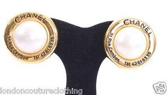 CHANEL VINTAGE 31 RUE CAMBON PARIS CC BLACK ENAMEL GOLD PEARL CLIP EARRINGS