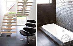 plans villa i minimalistisk design, Bad/toilet Villa, Clawfoot Bathtub, Planer, Toilet, Stairs, Bathroom, Design, Inspiration, Projects