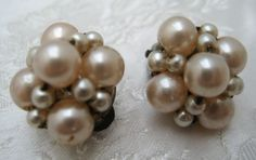 Vintage 1950s Faux Pearl FLORAL Cluster Clip On Earrings #Unbranded