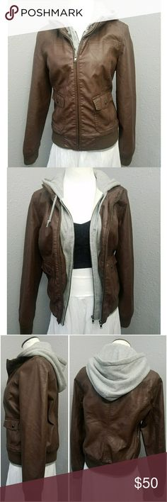 OBEY HOODED LAYERED LEATHER JACKETS •brown, gray OBEY from NORDSTROMS Retail $100 women's size large brown with stitched in grey sweatshirt HOODED, very warm Faux Leather  EUC Obey Jackets & Coats