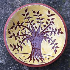 Tree of Life Bowl - Pennsylvania German Redware - Sgraffito - SG630 Earthenware Clay, Sgraffito, Passion For Life, Heritage Center, Pottery Classes, Pottery Making, American Crafts, Old Art, Early American