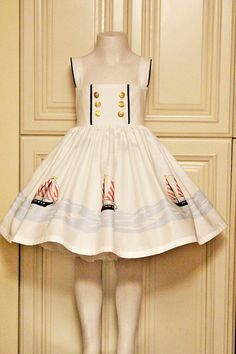 Perfect summer or cruise dress. Sailboats surround the hem with contrasting navy trim on the bodice and straps. Super full skirt for extra All Fashion, Cute Fashion, Kids Fashion, Cute Dresses, Girls Dresses, Cruise Dress, Nautical Looks, Sailor Dress, Girls 4