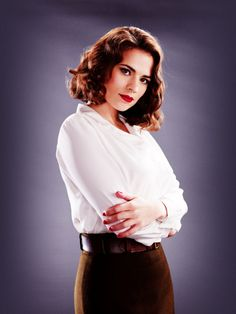 Hayley Atwell as Peggy Carter, picture from the website: http://thegirlwiththesnare.tumblr.com/post/22714174989#