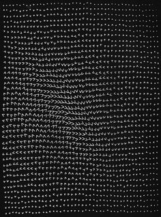 MASAO KOMURA  'OPTICAL EFFECT OF INEQUALITY', COMPUTER GRAPHIC BASED ON AN ALGORITHM USING AND DISPLAYING THE GREATER-THAN SIGN, 1968