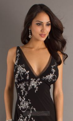 Attractive Sheath / Column V-neck Ankle-length Chiffon Black Military Ball Dresses - $138.99 - Trendget.com
