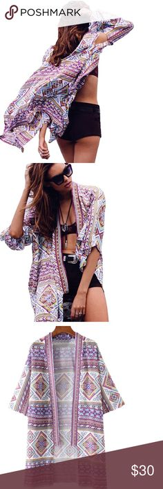 """Beautiful purple Kimono, Swimsuit Cover Up This bohemian style chiffon cardigan is chic and stylish. It features open front, vintage purple geometric print and loose 3/4 bat sleeves, which is perfect to block sunlight and keep fashion on fleek. Great to wear to work, casual, or to the beach as a cover up for swimsuits. Multi purpose. Large selection to choose from in my closet!  Measurements approximately Shoulders 19.7"""", Bust 48.8"""", Sleeve Length 12.6"""", Length 35.8"""". 061320178423906 Tops"""