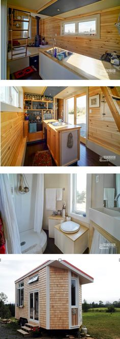 HARMONY HOUSE (Full Moon Tiny Shelters): Built on a 20ft trailer, with a 3ft extension. Fully winterized for four season living. The layout of the living area is interesting and unique, as is the kitchen, but the bathroom is really great.