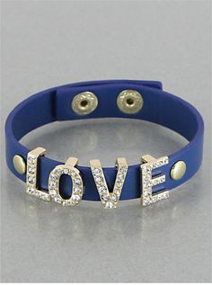 Navy Leather Crystal Love Bracelet from P.S. I Love You More. Shop online at: psiloveyoumore.storenvy.com