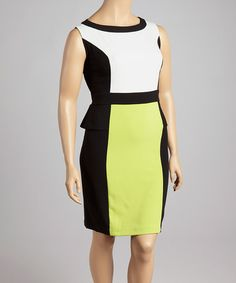 Look what I found on #zulily! Black & Lime Glamour Color Block Sleeveless Dress - Plus by Glamour #zulilyfinds