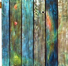 Old Barnyard Gate by Asha Carolyn Young Old barnyard gate<br> The gate wanted some color so that it's history might shine out. The other side of this gate is Old Barnyard Gate, Side Reclaimed Wood Wall Art, Wooden Art, Pallet Painting, Pallet Art, Painted Furniture, Diy Furniture, Vertical Pallet Garden, Old Pallets, How To Distress Wood
