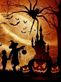Halloween Artwork, Halloween Rocks, Halloween Painting, Halloween Prints, Family Halloween Costumes, Halloween Pictures, Spooky Halloween, Halloween Themes, Vintage Halloween
