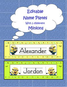 Name Plates: Adorable back to school must have, these bright plates are easy to use! Simply print and laminate for durability.Approx size x 8 per page) Teacher Created Resources, Teaching Resources, Beginning Of The School Year, Back To School, Minion Names, Minion Classroom, School Must Haves, Lesson Plans, Minions
