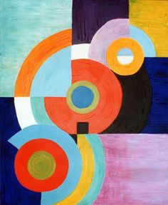 Sonia Delaunay style abstract. Oil on canvas 7' x 5' by Timna Woollard