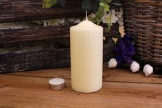 Κεριά Κυλινδρικά Εκρού Φ7x15εκ Pillar Candles, Taper Candles