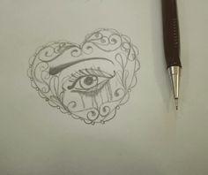 #baroque #eye #woman #girl #sketch #heart #pain #love #tattoo #neotraditional