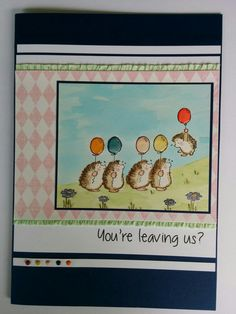 Leaving cards - large size, Penny Black Balloon  Day stamped (black stazon) on water colour paper. Watercoloured with stampin up inks, dimensional magic on balloons, stampin up trim, patterned paper (unknown source) and mini brads. #PennyBlack #leaving #goodbye