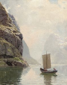 Hans Andreas Dahl (Norwegian, 1849-1937)  Rowing on a fjord