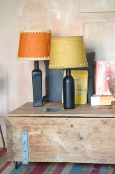 diy bottle lamp, #upcycle #recycle #vintage #diy #bottle #decoration #do #it #yourself #interior #lamp
