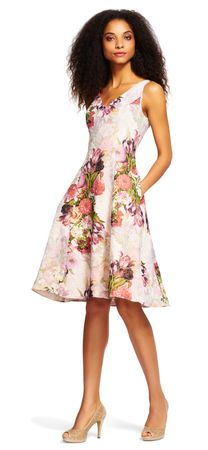 A perfect petal print adorns this jacquard day dress. Garden party-ready, this short sleeveless dress features an all over floral print, v-neckline and a pleated skirt. A back zipper closure completes this fit and flare look. Honeymoon Dress, Honeymoon Outfits, Women's Fashion Dresses, Sexy Dresses, Casual Dresses, White Wedding Dresses, Bridesmaid Dresses, Floral Bridesmaids, Bride Dresses