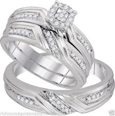 White Gold His Her Men Woman Diamond Pave Wedding Ring Bands Trio Set(0.31ct. tw)- RG331124880090