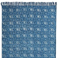 INDIGO SPRINGS RUG--The Old World essence of the stonewashed print on our all-cotton rug adds a pleasing impression to any décor. Each is unique. Imported. Exclusive. 2-1/2' x 8', 4' x 6', 5' x 8', and 6' x 9'.