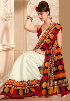 Off White and Red Art Sari