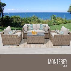 Outdoor Wicker Patio Furniture Set 05b / 5 Piece / Original Beige