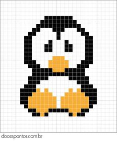 Penguin perler bead pattern - turn it into granny square blanket! (or use square stitch and bead it! Mini Cross Stitch, Beaded Cross Stitch, Cross Stitch Animals, Cross Stitch Embroidery, Cross Stitch Patterns, Pearler Bead Patterns, Perler Patterns, Loom Patterns, Beading Patterns